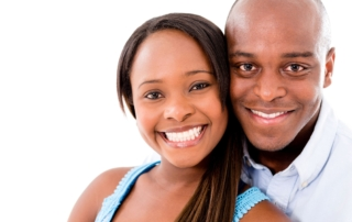 20893899 - beautiful portrait of a happy couple – isolated over white